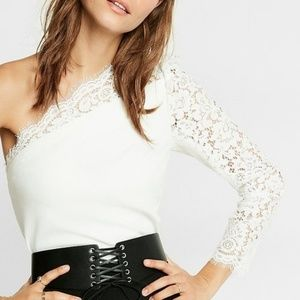 Express cream lace one shoulder crop top S